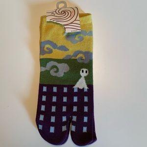 Japanese Tabi style toe socks purp/gold/green NWT